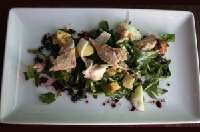 Skuna Bay Luncheon <p> 	Duck Fat Poached Skuna Bay Salmon, Arugula, Ciabatta Croutons, Hard Cooked Egg, Red Onion, Red Wine Vinaigrette</p>