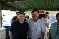Zhapo Bay - Yangjiang Cage Culture Association <p> 	Sean O'Scannlain, President of Fortune Fish with the President of the Yangjiang Cage Culture Association on one of his 4 floating fish farms.</p>