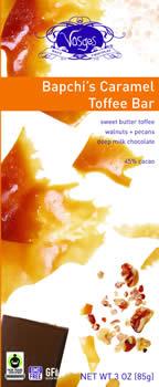 Sweet butter toffee, walnuts, pecans, 45% deep milk chocolate.