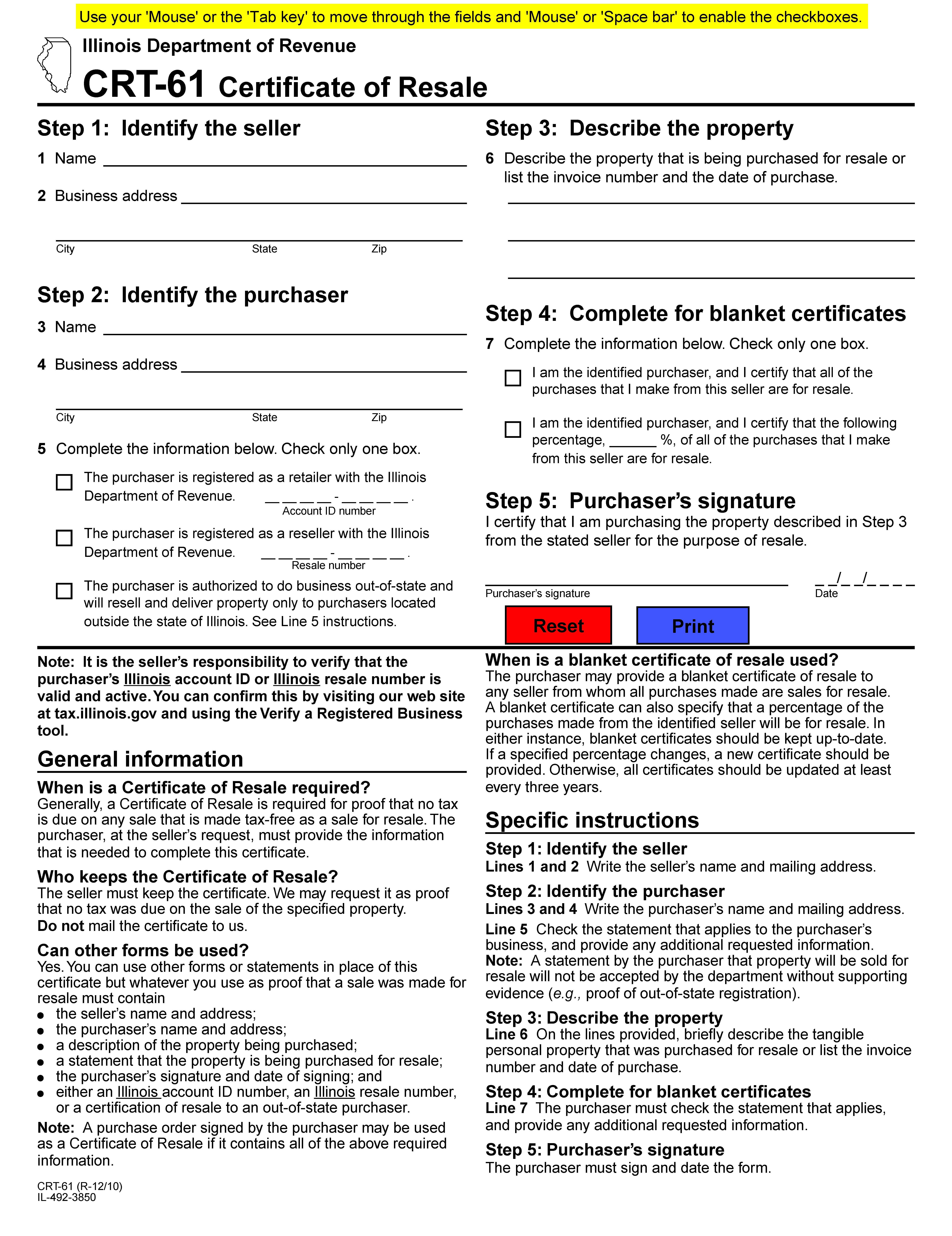 Crt 61 Certificate Of Resale
